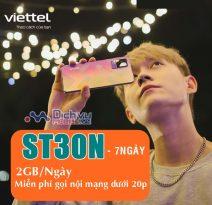 Hướng dẫn đăng ký gói ST30N Viettel nhận 2GB/ ngày free thoại chỉ 30k