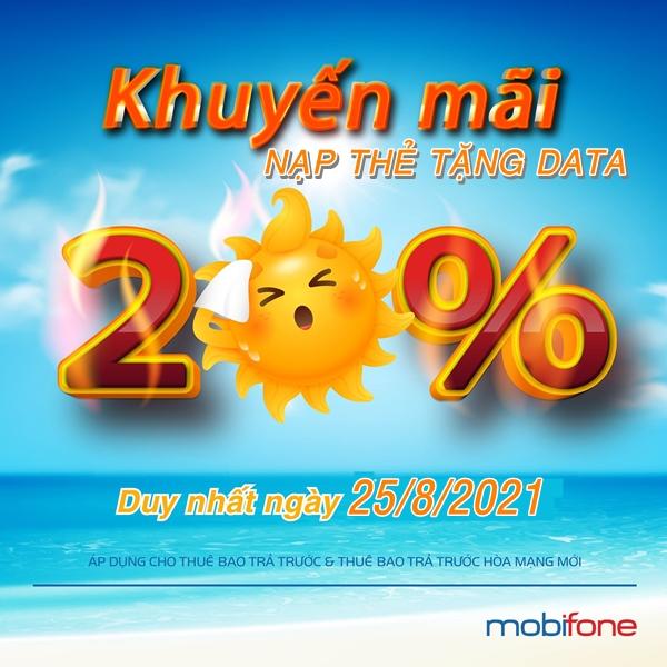 Mobifone khuyến mãi nạp thẻ tặng data toàn quốc 25/8/2021
