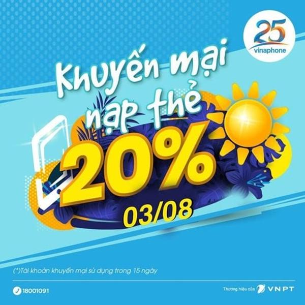 Vinaphone khuyến mãi 20% giá trị thẻ nạp duy nhất ngày 3/8/2021
