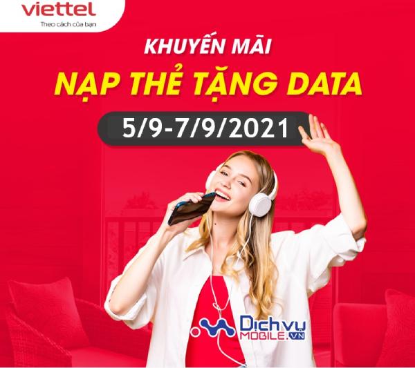 Viettel khuyến mãi thẻ nạp tặng data ngày 5.9-7.9