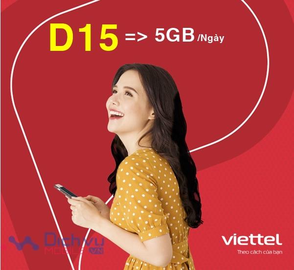 Hướng dẫn đăng ký gói D15 Viettel nhận 5GB/ ngày tha hồ lướt web