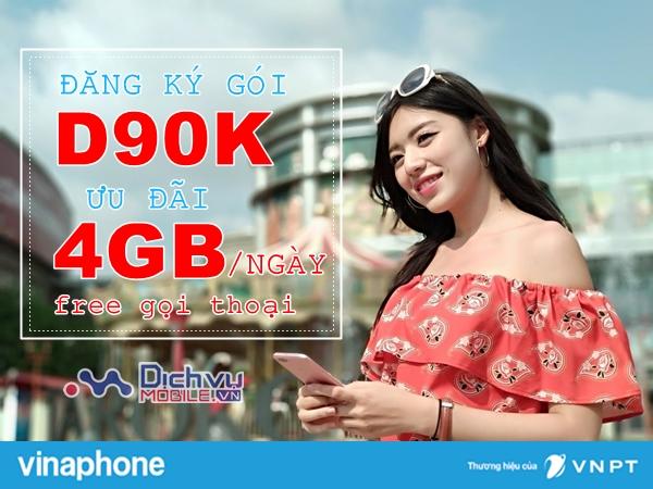 Cách đăng ký gói D90K VinaPhone nhận ưu đãi 4GB/ngày, 1550 phút chỉ 90K/tháng