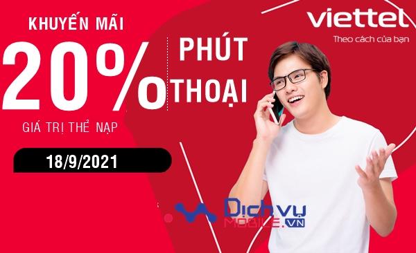 Viettel khuyến mãi tặng 20% thẻ nạp, phút thoại duy nhất 18/9/2021