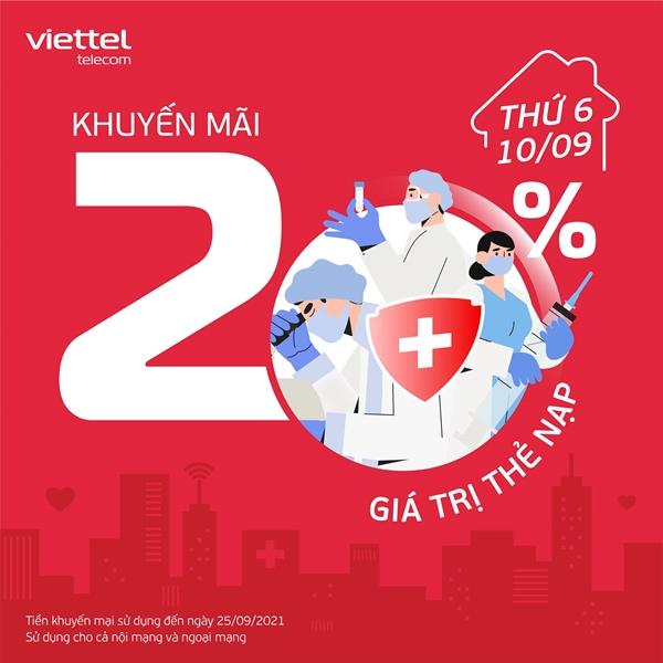 Viettel khuyến mãi tặng 20% thẻ nạp toàn quốc ngày vàng 10/9/2021