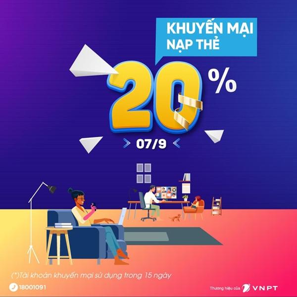 Vinaphone khuyến mãi 20% giá trị thẻ nạp duy nhất ngày 7/9/2021