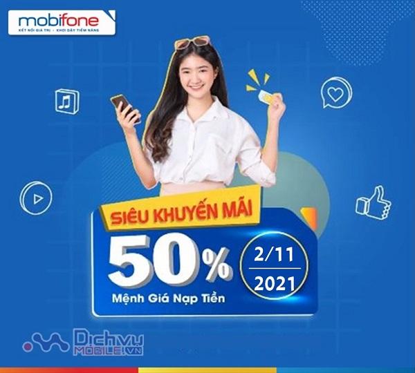 Khuyến mai thẻ nạp Mobifone ngày 2/11