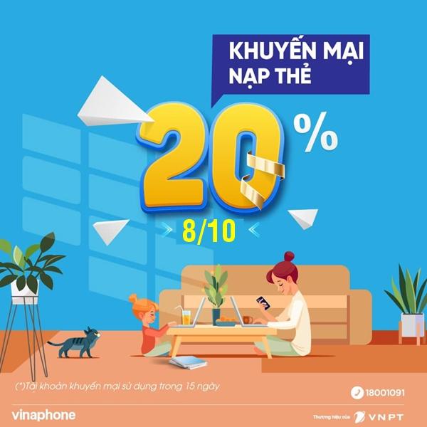 VinaPhone khuyến mãi 20% thẻ nạp toàn quốc ngày 8/10/2021